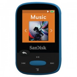 SanDisk - SDMX24-008G-A46B - SanDisk Clip Sport SDMX24-008G 8 GB Flash MP3 Player - Blue - FM Tuner - 1.4 - microSDHC - MP3, AAC, Audible, FLAC, Ogg Vorbis, WAV, WMA - 25 Hour