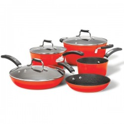 Starfrit - 034612-001-0000 - THE ROCK(TM) by Starfrit(R) 034612-001-0000 THE ROCK(TM) by Starfrit(R) 8-Piece Cookware Set with Bakelite(R) Handles (Red)
