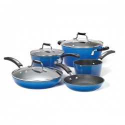 Starfrit - 034613-001-0000 - THE ROCK(TM) by Starfrit(R) 034613-001-0000 THE ROCK(TM) by Starfrit(R) 8-Piece Cookware Set with Bakelite(R) Handles (Blue)
