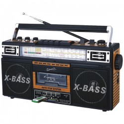 Supersonic - SC-3200 WOOD - Supersonic(R) SC-3200 WOOD Retro 4-Band Radio & Cassette Player (Wood)