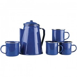 Stansport - 11230-03 - Stansport(TM) 11230-03 Enamel Percolator Coffee Pot & 4 Mug Set
