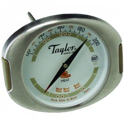 Taylor Precision - 502 - Taylor 502 Connoisseur Series Analog Bimetal Meat Thermometer with Dual-Pointer Dial and Silicone Grips