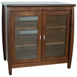 "TechCraft - SWD30 - Techcraft Hi-Boy SWD30 A/V Equipment Cabinet - Up to 37"" Screen Support - 141.10 lb Load Capacity - 4 x Shelf(ves) - Hinged Door - 29.8"" Height x 29.8"" Width x 20.3"" Depth - Walnut - Solid Wood, Veneer, Glass"