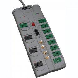 Tripp Lite - TLP1210SATG - Tripp Lite Eco Surge Protector Green 120V RJ11 RJ45 Coax 12 Outlet 10' Cord - 12 x NEMA 5-15R - 1.80 kVA - 3600 J - 120 V AC Input - Phone/DSL, Coaxial Cable Line