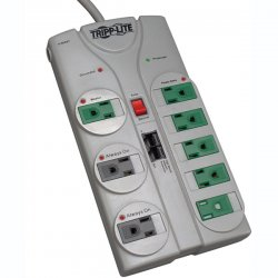 Tripp Lite - TLP808NETG - Tripp Lite Eco Surge Protector Green 120V 8 Outlet RJ45 8' Cord 2160 Joule - 8 x NEMA 5-15R - 1.80 kVA - 2160 J - 120 V AC Input - Network/Phone