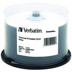 Verbatim / Smartdisk - 94949 - Verbatim CD-R 700MB 52X DataLifePlus White Thermal Printable - 50pk Spindle - Printable - Thermal Printable