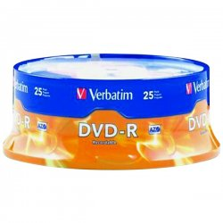 Verbatim / Smartdisk - 95058 - Verbatim AZO DVD-R 4.7GB 16X with Branded Surface - 25pk Spindle - 2 Hour Maximum Recording Time