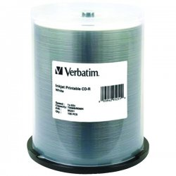 Verbatim / Smartdisk - 95251 - Verbatim CD-R 700MB 52X White Inkjet Printable - 100pk Spindle - 700MB - 100 Pack