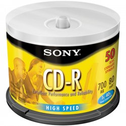 Sony - 50CDQ80SP - Sony 50CDQ80SP CD Recordable Media - CD-R - 48x - 700 MB - 50 Pack Spindle - 120mm - 1.33 Hour Maximum Recording Time