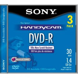 Sony - 3DMR30R1H - Sony DVD Recordable Media - DVD-R - 1.40 GB - 3 Pack - 80mm Mini - 30 Minute Maximum Recording Time