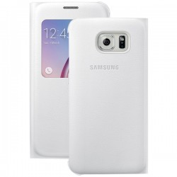 Samsung - EF-CG920PWEGUS - Samsung S-View Carrying Case (Flip) for Smartphone - Pearl White - Polyurethane Leather, Plastic