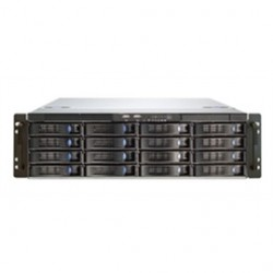 "Chenbro Micom - RM31616M2-R820 - Chenbro 3U 16-Bay High Density Storage Server Chassis - Rack-mountable - Black, Silver - Steel, Acrylonitrile Butadiene Styrene (ABS) - 3U - 18 x Bay - 4 x 3.15"" x Fan(s) Installed - 820 W - Power Supply Installed - EATX,"