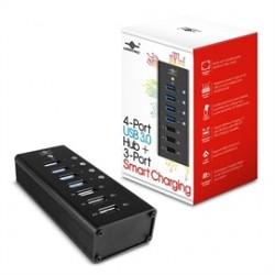 Vantec Thermal Technologies - UGT-AH400U3-3C - Vantec 4 Port USB 3.0 Aluminum Smart Charging Hub - USB - External - 7 USB Port(s) - 4 USB 3.0 Port(s) - Mac, PC
