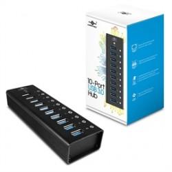 Vantec Thermal Technologies - UGT-AH100U3 - Vantec 10 Port USB 3.0 Aluminum Hub - USB - External - 10 USB Port(s) - 10 USB 3.0 Port(s) - PC, Mac