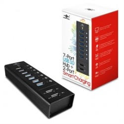 Vantec Thermal Technologies - UGT-AH700U3-2C - Vantec 7 Port USB 3.0 Aluminum Smart Charging Hub - USB - External - 9 USB Port(s) - 7 USB 3.0 Port(s) - PC, Mac