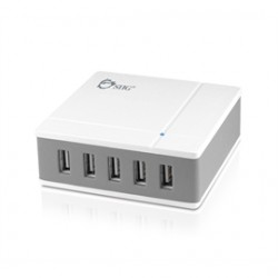 SIIG - AC-PW0R12-S1 - SIIG 5-Port 45W Desktop USB Rapid Charger - White - 45 W Output Power - 120 V AC, 230 V AC Input Voltage - 5 V DC Output Voltage - 9 A Output Current