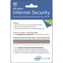 Intel - BKCMIS1YRENG - Software McAfee Internet Security Physical Activation Card English 1 Year
