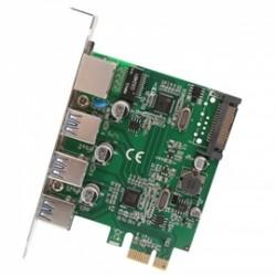 SYBA Multimedia - SD-PEX50100 - Network Card SD-PEX50100 3PT USB 3.1 Gen 1 and Gigabit Ethernet PCI-E 2.0x1 Card Retail