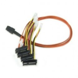 3Ware/AMCC - CBL-SAS8087OCF-06M - 3ware Forward SAS Breakout Cable with Drive Power Connectors - SFF-8087 - SFF-8482 - 1.97ft
