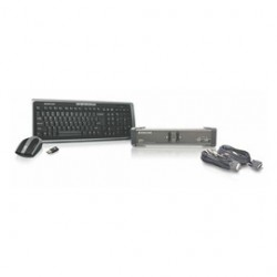 IOGear - GCS1102-KM1 - IOGEAR 2 Port DVI KVMP with cables and wireless keyboard / mouse combo