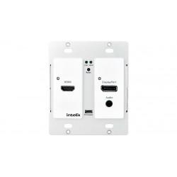 Intelix - AS-1H1DP-WP-W - HDMI/DisplayPort Auto-Switching Wallplate w/ HDBaseT Output