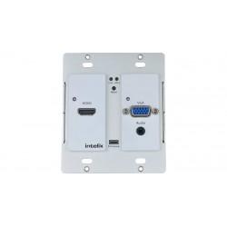 Intelix - AS-1H1V-WP-W - HDMI/VGA Auto-Switching Wallplate with VGA Scaling & HDBaseT Output