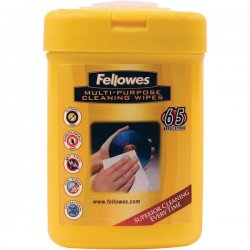 Fellowes - 99705 - Fellowes Multipurpose Surface Cleaning Wipes - 65 - For Optical Media, Home/Office Equipment, Display Screen - Alcohol-free, Non-toxic, Anti-static, Streak-free, Pre-moistened - 65 / Canister - 1 Each - White