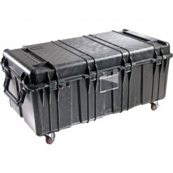 "Pelican - 0500-001-110 - Pelican 0500 Transport Case - Internal Dimensions: 34.95"" Length x 18.45"" Width x 25.25"" Depth - External Dimensions: 40"" Length x 23.5"" Width x 28.7"" Depth - Double Throw Latch Closure - Heavy Duty - Stackable - Black - For"