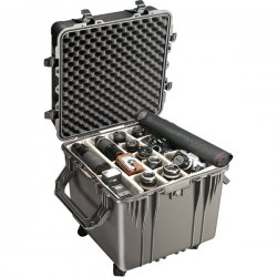 "Pelican - 0350-000-110 - Pelican PELICAN 20"" CUBE CASE 0350 - External Dimensions: 22.4"" Width x 21.3"" Depth x 22.5"" Height - Padlock Closure - Stainless Steel, Copolymer Polypropylene - Black"