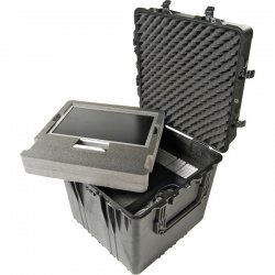 "Pelican - 0370-000-110 - Pelican 0370 Cube Case with Foam - Internal Dimensions: 24"" Length x 24"" Width x 24"" Depth - External Dimensions: 26.5"" Length x 26.5"" Width x 25.3"" Depth - 450 lb - Latching Closure - Copolymer - Black - For Military"