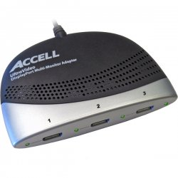 Accell - K088B-001B - Accell - for Monitor - 3.75 ft - 1 x DisplayPort Digital Audio/Video - 3 x DisplayPort Female Digital Audio/Video