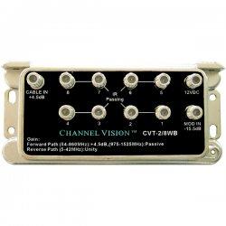 Channel Vision - CVT-2/8WB - Channel Vision CVT-2/8WB 2x8 Cable TV Signal Splitter/Amplifier - 1.55 GHz - 5 MHz to 1.55 GHz