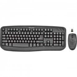 Gear Head - KB5150W - Gear Head KB5150W Keyboard and Mouse - USB Wireless RF Keyboard - 104 Key - Black - USB Wireless RF Mouse - Optical - 3 Button - Scroll Wheel - Black - Symmetrical - AAA