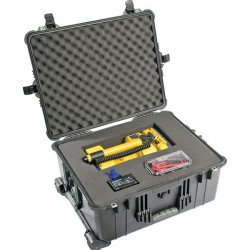 "Pelican - 1610-024-110 - Pelican 1610 Shipping Case with Divider - Internal Dimensions: 21.72"" Length x 16.69"" Width x 10.62"" Depth - External Dimensions: 24.8"" Length x 19.7"" Width x 11.9"" Depth - 16.68 gal - Double Throw Latch Closure - Copolymer -"