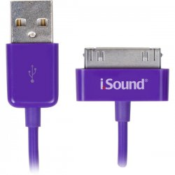 I.Sound - ISOUND-1634 - ISOUND ISOUND-1634 iPad(R)/iPhone(R)/iPod(R) Charge & Sync Cable, 3ft (Purple)