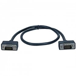 QVS - CC388M1-06 - QVS UltraThin Triple Shielded Cable - HD-15 Male - HD-15 Male - 6ft - Black