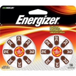 Energizer - AZ312DP-16 - Energizer EZ Turn & Lock Size 312 - 312 - Zinc Air - 16 Pack