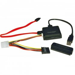 "Tripp Lite - U238-000 - Tripp Lite USB 2.0 to SATA / IDE Combo Adapter - Type A Male, Serial ATA Female, Female, IDC Male - 12"" - Black"