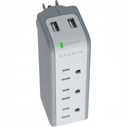 Belkin / Linksys - BZ103050-TVL - Belkin 5-Outlets Mini Surge Suppressors with USB Charger - 3 x AC Power, 2 x USB - 918 J - 5 V DC Output