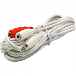 "Steren Electronics - 252-001WH - Steren 3.5mm to 3.5mm Y iPod Cable - Mini-phone Male - Mini-phone Female - 6"" - White"