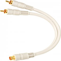 "Steren Electronics - 254-207IV - Steren Python Home Theater Y-cable - RCA Male - RCA Female - 6"" - Ivory"