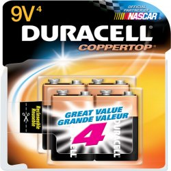 Duracell - MN16RT4Z - CopperTop Alkaline Batteries, 9V, 4/PK