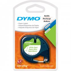 "DYMO - 10697 - Dymo LetraTag 10697 Paper Tape - 0.50"" Width x 13 ft Length - Direct Thermal - White - Paper - 2 / Pack"