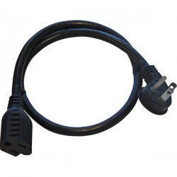 Panamax - 121-2590 - 15A Flat Plug - 14 AWG 90 Degree Angle Adapter Plug, 24 Inches, Black