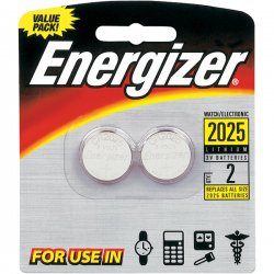 Energizer - 2025BP2 - Energizer 2025 3V Watch/Electronic Batteries - Lithium (Li) - 3 V DC - 2 / Pack