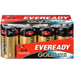 Eveready - A95-8 - Gold Alkaline Batteries, D, 8 /Pk