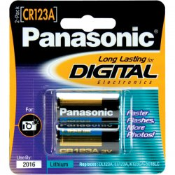 Panasonic - CR-123APA/2B - Panasonic CR123A Photo Lithium Battery Pack - 3V DC