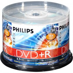 Philips - DR4S6B50F/17 - Philips 16x DVD+R Media - 4.7GB - 50 Pack