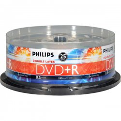 Philips - DR8S8B25F/17 - Philips DR8S8B25F DVD Recordable Media - DVD+R DL - 2.4x - 8.50 GB - 25 Pack Spindle - 120mm - 4 Hour Maximum Recording Time
