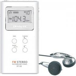 Sangean - dt-120-white - Sangean DT-120 AM/FM Stereo Pocket Radio - 10 x FM, 5 x AM Presets